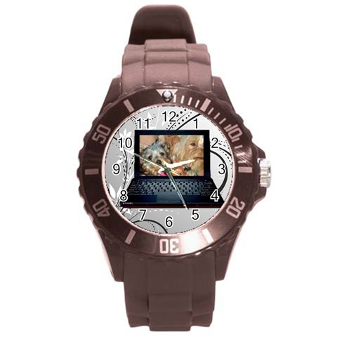Gray Plastic Sport Watch Large Laptop Frame By Kim Blair   Round Plastic Sport Watch (l)   Ghfgr7iuip3s   Www Artscow Com Front