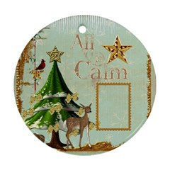 All Is Calm Double Sided Ornament By Catvinnat   Round Ornament (two Sides)   Dfuomrjxyxe1   Www Artscow Com Front