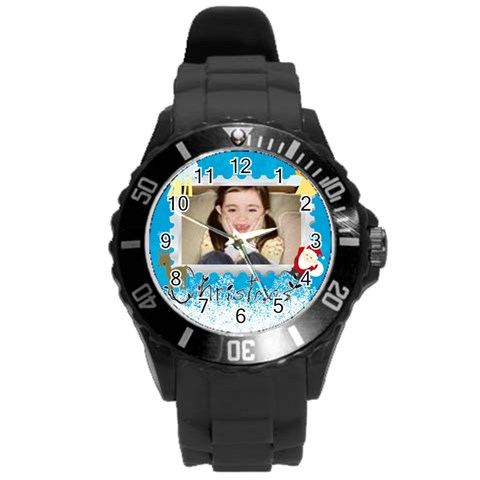 Xmas By Wood Johnson   Round Plastic Sport Watch (l)   G0zsbi0493p0   Www Artscow Com Front
