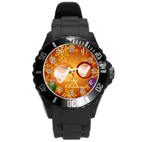 Xmas By Wood Johnson   Round Plastic Sport Watch (l)   34ow6p6t0ouf   Www Artscow Com Front