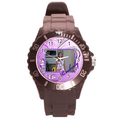 Purple Swirl Sport Watch By Kim Blair   Round Plastic Sport Watch (l)   Kdehlr5tkp7h   Www Artscow Com Front