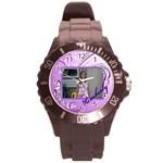 purple swirl sport watch - Round Plastic Sport Watch (L)