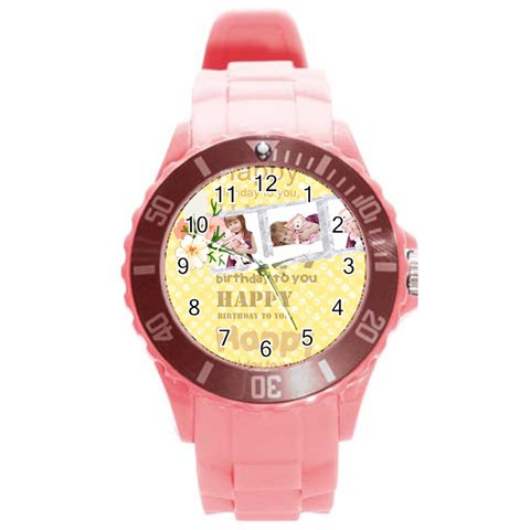 Happy Birthday By Jo Jo   Round Plastic Sport Watch (l)   Fljarm23ihnd   Www Artscow Com Front