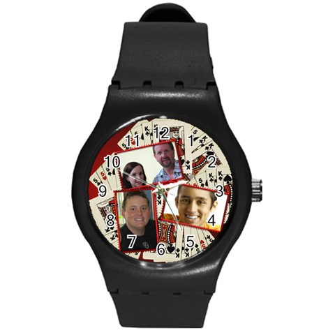 Cards Anyone Round Plastic Sport Watch Medium By Deborah   Round Plastic Sport Watch (m)   0lvx6gjuyg95   Www Artscow Com Front