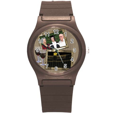 Time For A Wine Round Plastic Sport Watch Small By Deborah   Round Plastic Sport Watch (s)   6rfrttqnym1c   Www Artscow Com Front
