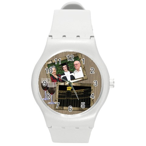 Time For A Wine Round Plastic Sport Watch Medium By Deborah   Round Plastic Sport Watch (m)   Gb9e1ilbbfif   Www Artscow Com Front