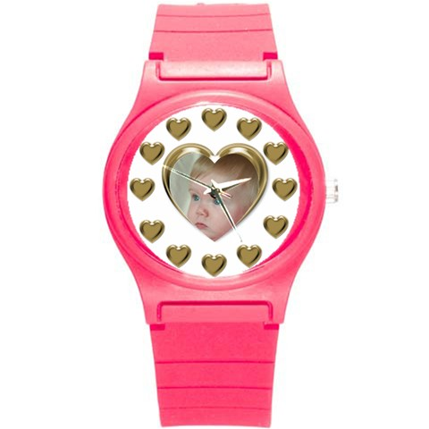 Heart Round Plastic Sport Watch Small By Deborah   Round Plastic Sport Watch (s)   G14vcqqkskjg   Www Artscow Com Front