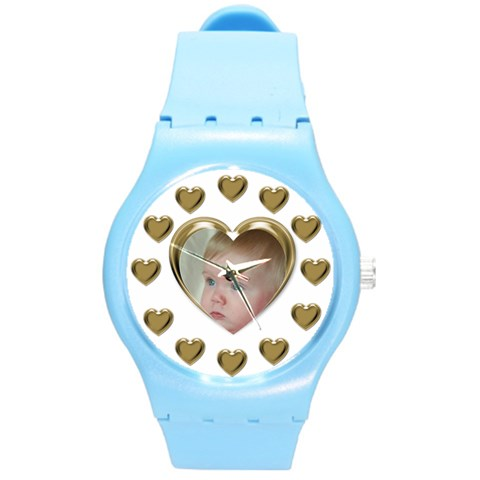 Hearts Round Plastic Sport Watch Medium By Deborah   Round Plastic Sport Watch (m)   Yr5iand8lb36   Www Artscow Com Front