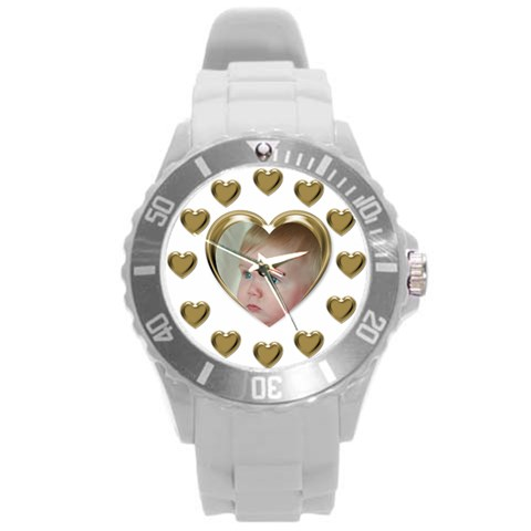 Hearts Round Plastic Sport Watch Large By Deborah   Round Plastic Sport Watch (l)   Cm4lbzp6mqre   Www Artscow Com Front