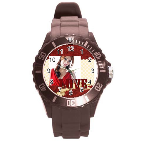 Love By Wood Johnson   Round Plastic Sport Watch (l)   0w9wacjj3fmj   Www Artscow Com Front