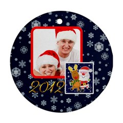 Santa Rudolf Penguin 2012 Double Sided Ornament By Catvinnat   Round Ornament (two Sides)   Iwc4op6403wf   Www Artscow Com Front