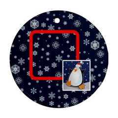 Santa Rudolf Penguin 2012 Double Sided Ornament By Catvinnat   Round Ornament (two Sides)   Iwc4op6403wf   Www Artscow Com Back