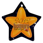 Happy Holidays 2012 double sided star ornament - Star Ornament (Two Sides)