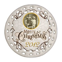 Merry Christmas 2012 Double Sided Filigree Ornament By Catvinnat   Round Filigree Ornament (two Sides)   Czwopboao7nj   Www Artscow Com Front
