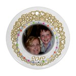 Gold Fillagree Festive Lights 2 sided 2012 ornament - Round Ornament (Two Sides)