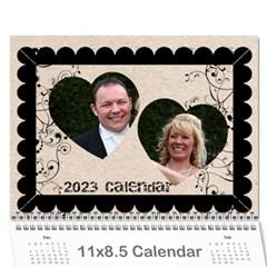 Twin Hearts Neutral Wedding Celebration Calendar 2015 By Catvinnat   Wall Calendar 11  X 8 5  (12 Months)   Vslhp4dne4rm   Www Artscow Com Cover
