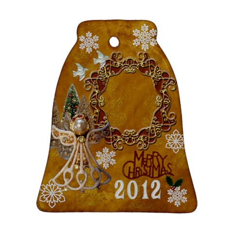 Gold Angel Merry Christmas 2012 Bell Ornament By Ellan   Ornament (bell)   Dozq60c8vffc   Www Artscow Com Front