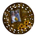 Gold Love Sunflower round filligree ornament - Ornament (Round Filigree)