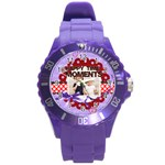 happy memonts - Round Plastic Sport Watch (L)