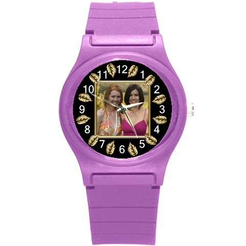 Gold Leaf Round Plastic Sport Watch Small By Deborah   Round Plastic Sport Watch (s)   Knypghdibbuu   Www Artscow Com Front