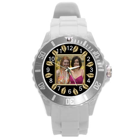 Gold Leaf Round Plastic Sport Watch Large By Deborah   Round Plastic Sport Watch (l)   N8wj6c129ewx   Www Artscow Com Front