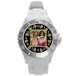 Gold Leaf Round Plastic Sport Watch Large - Round Plastic Sport Watch (L)