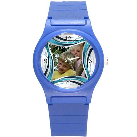 Blue And Silver Plastic Sport Watch Small By Deborah   Round Plastic Sport Watch (s)   2l9ppupdebl7   Www Artscow Com Front