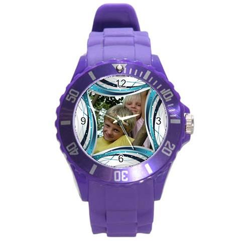 Blue And Silver Plastic Sport Watch Large By Deborah   Round Plastic Sport Watch (l)   5vx02rgb6d6u   Www Artscow Com Front