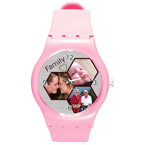 Family Round Plastic Sport Watch Medium By Deborah   Round Plastic Sport Watch (m)   7g6bge528y2v   Www Artscow Com Front
