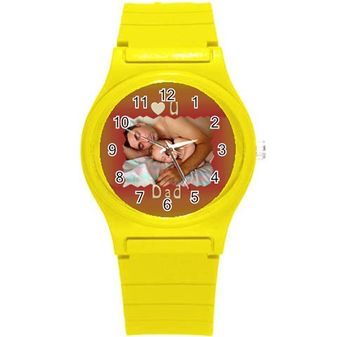 Love U Dad Plastic Sport Watch Small By Deborah   Round Plastic Sport Watch (s)   Gr1ya0m90mxe   Www Artscow Com Front