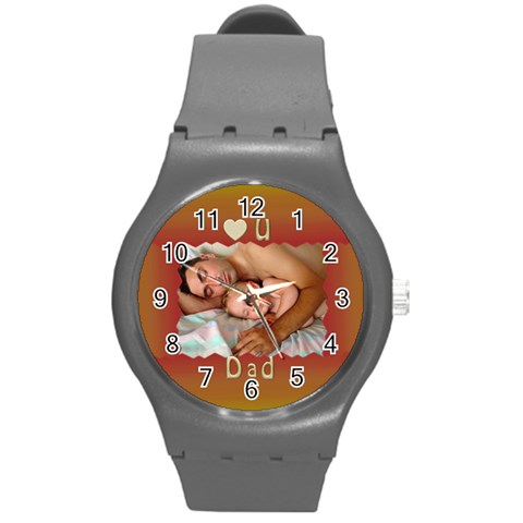 Love U Dad Plastic Sprot Watch Medium By Deborah   Round Plastic Sport Watch (m)   Atroumvrhn09   Www Artscow Com Front