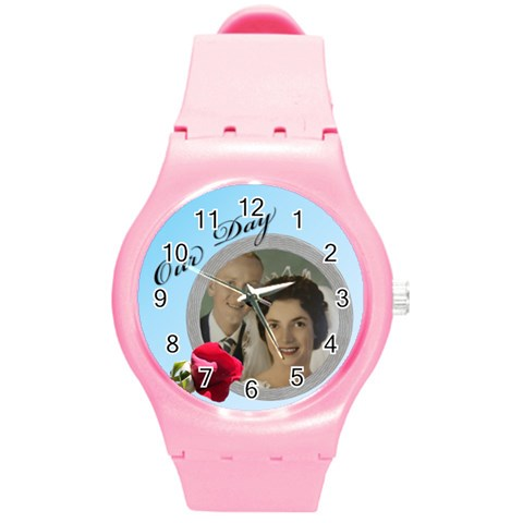 Our Day Round Plastic Sport Watch Medium By Deborah   Round Plastic Sport Watch (m)   Mczusxmtjh4a   Www Artscow Com Front
