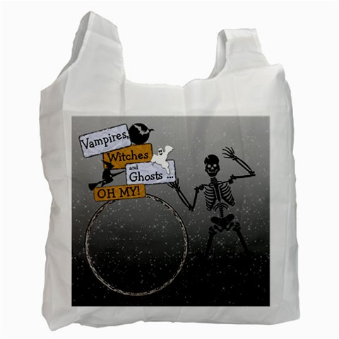 Skeleton Trick Or Treat Recycle Bag By Lil    Recycle Bag (one Side)   Af447u0vpsrn   Www Artscow Com Front