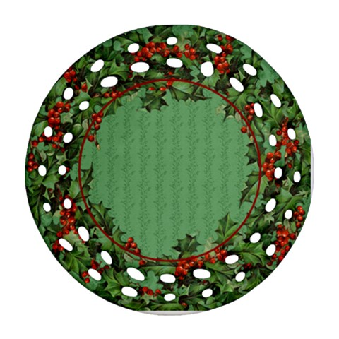 Holly Ornament By Lil    Ornament (round Filigree)   Dmiyl5ih7dga   Www Artscow Com Front