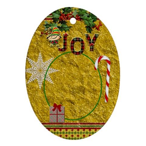 Joy Oval Ornament By Lil    Ornament (oval)   Qq2tnmbzwyaz   Www Artscow Com Front