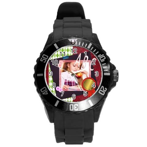 Abc By Joely   Round Plastic Sport Watch (l)   X6wz5znb3guz   Www Artscow Com Front