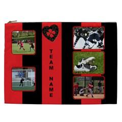 Black And Red Cosmetic Bag Xxl By Deborah   Cosmetic Bag (xxl)   O3gybu7k5n8a   Www Artscow Com Front