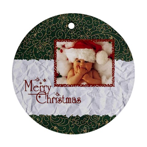 Merry Christmas     Ornament By Carmensita   Ornament (round)   6k8qqkrob669   Www Artscow Com Front
