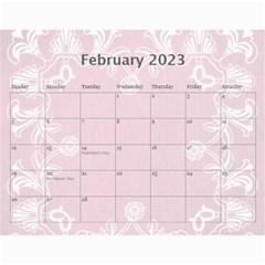 Art Nouveau Pink Calendar 2015 By Catvinnat   Wall Calendar 11  X 8 5  (12 Months)   6vbjtzockuij   Www Artscow Com Feb 2015