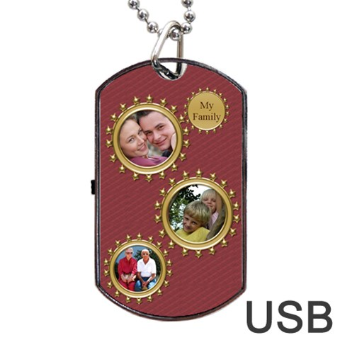 My Family Dog Tag Usb Flash By Deborah   Dog Tag Usb Flash (one Side)   2190914oxv0d   Www Artscow Com Front