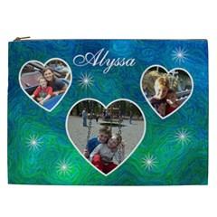 Cosmetic Bag (xxl)   Blue Swirls By Lmw   Cosmetic Bag (xxl)   1i58mccjvv5y   Www Artscow Com Front