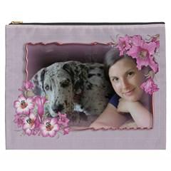 Pink Flower Cosmetic Bag (xxxl) By Deborah   Cosmetic Bag (xxxl)   Mf1nvy2hdht9   Www Artscow Com Front