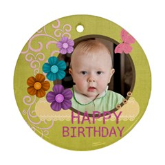 Happy Birthday By Jacob   Round Ornament (two Sides)   T1z93nf2jbxg   Www Artscow Com Back