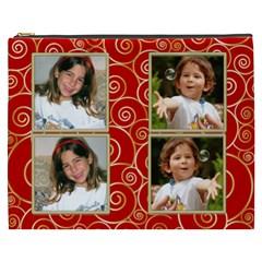 Red And Gold Cosmetic Bag (xxxl) By Deborah   Cosmetic Bag (xxxl)   U892bu8k78l1   Www Artscow Com Front