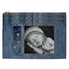 Studded Denim Xxl Cosmetic Bag By Lil    Cosmetic Bag (xxl)   Wvmhqreksqvr   Www Artscow Com Front