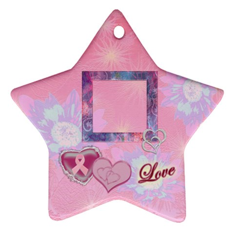 Breast Cancer Pink Love Star Ornament By Ellan   Ornament (star)   Jeg3q4h61hxs   Www Artscow Com Front