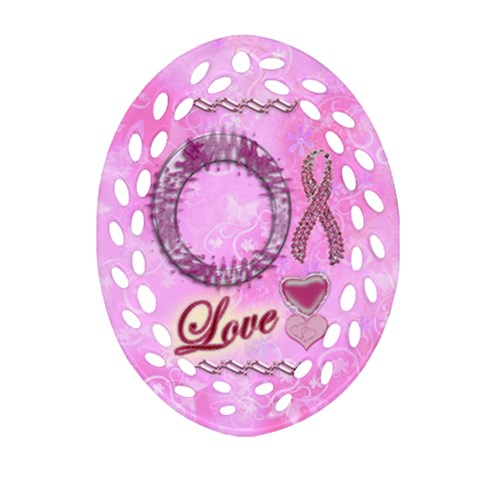Love Breast Cancer Awareness Oval Filagree By Ellan   Ornament (oval Filigree)   Pmjv6zt7f700   Www Artscow Com Front