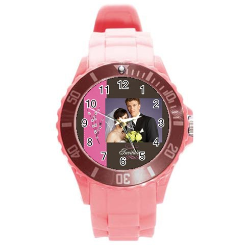 Wedding By Jacob   Round Plastic Sport Watch (l)   Ves9tzcotu1h   Www Artscow Com Front
