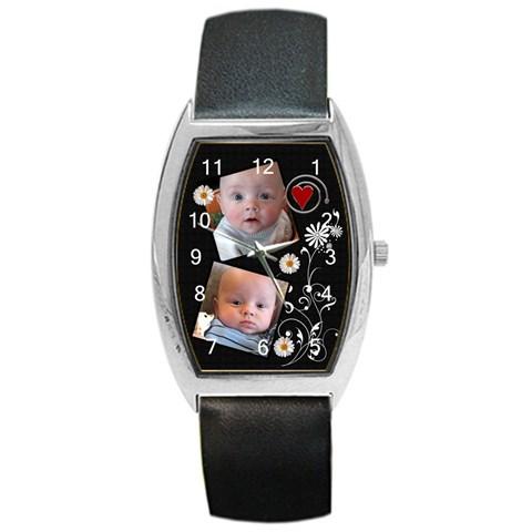 Flower Design Barrel Style Watch By Lil    Barrel Style Metal Watch   2ees2m6pjnge   Www Artscow Com Front
