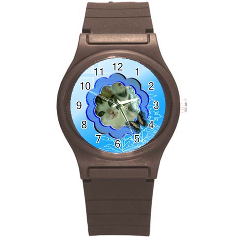 Blue Cross Sports Watch Small By Kim Blair   Round Plastic Sport Watch (s)   Uhai2opbnfj8   Www Artscow Com Front